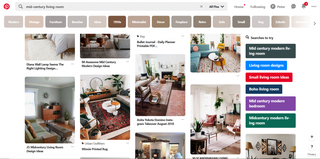 A screenshot of Pinterest showing various mid-century modern living room and rugs