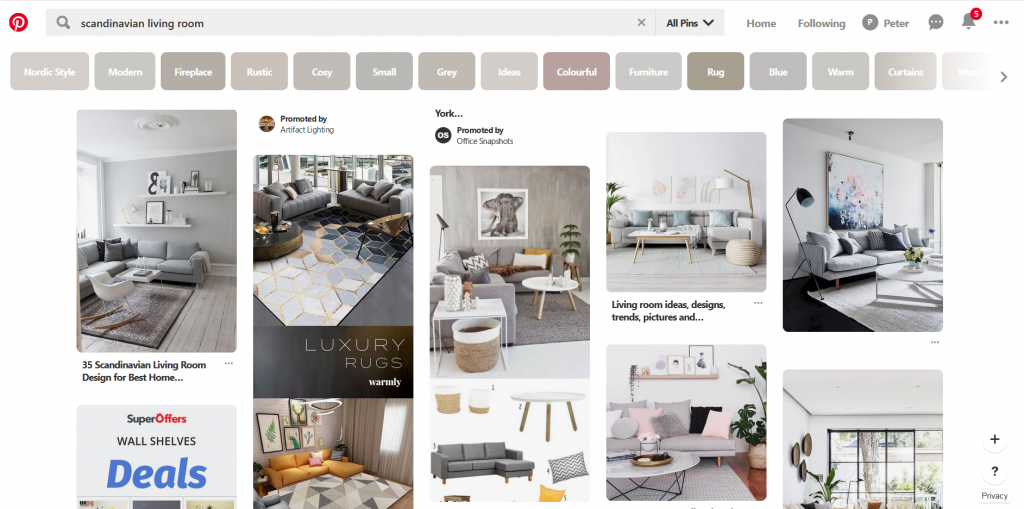 A screenshot of Pinterest showing various Scandinavian living room and rugs