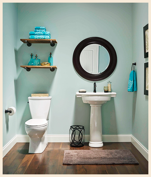 a bathroom setting showing toilet and basin with a coastal design inspired color and accessories