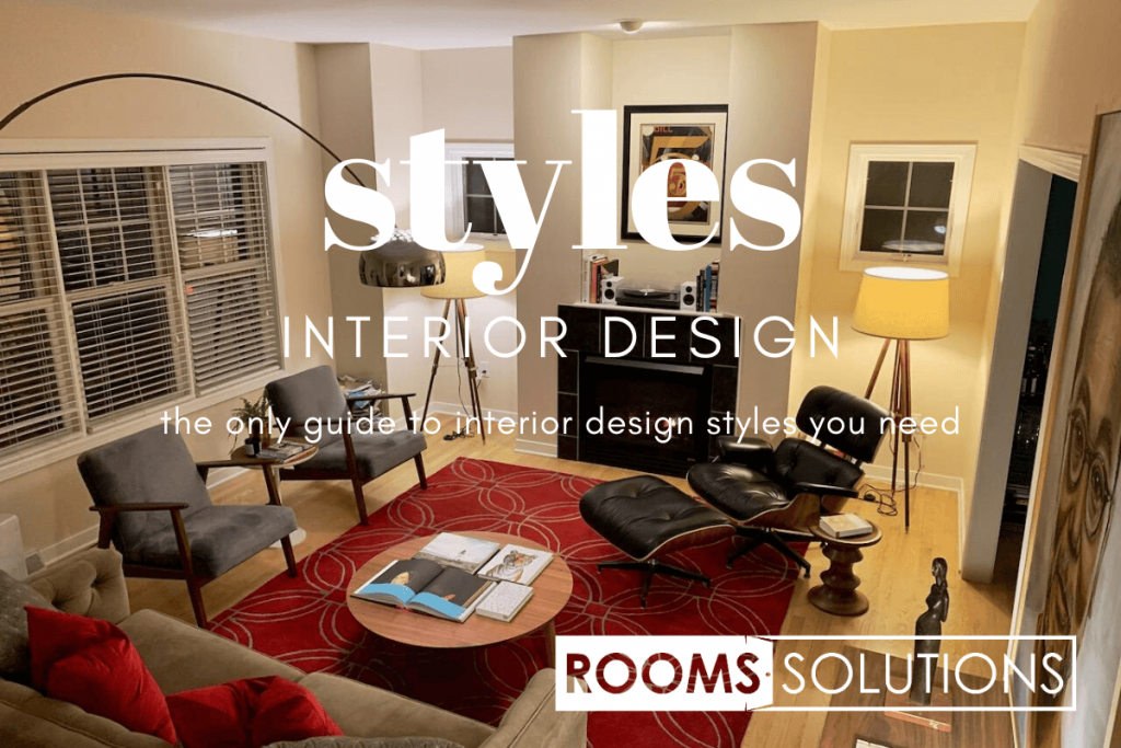 A mid-century style sitting room with Eames lounge chair, red patterned floor rug, 2 armchairs and a sofa all showing one of the styles described in the interior design style guide