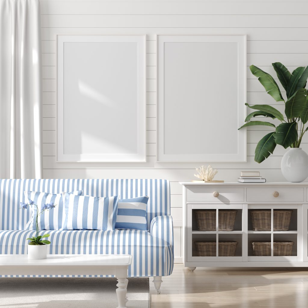 bedroom setting with blue and white color scheme to give a feeling of a Coastal design for your home