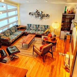 a mid-century style living room viewed from high level
