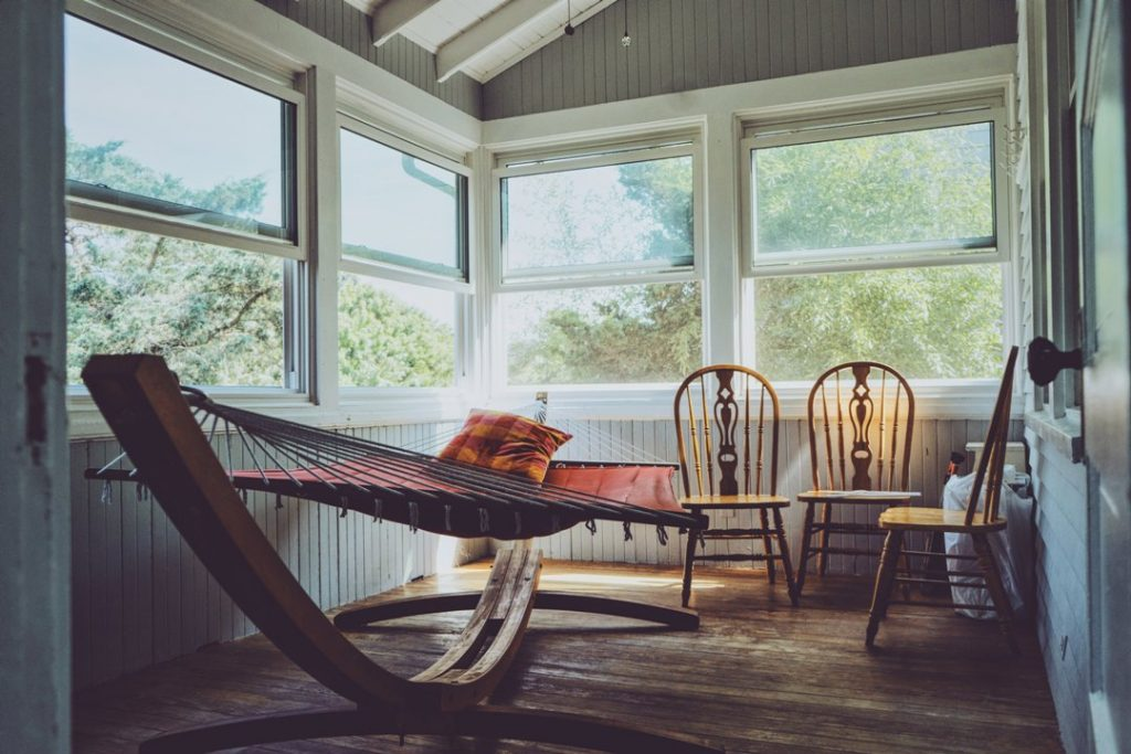 hammock in rustic room setting
