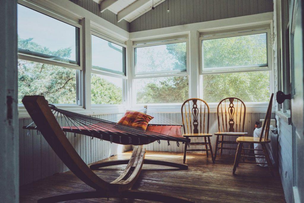 hammock in rustic room setting