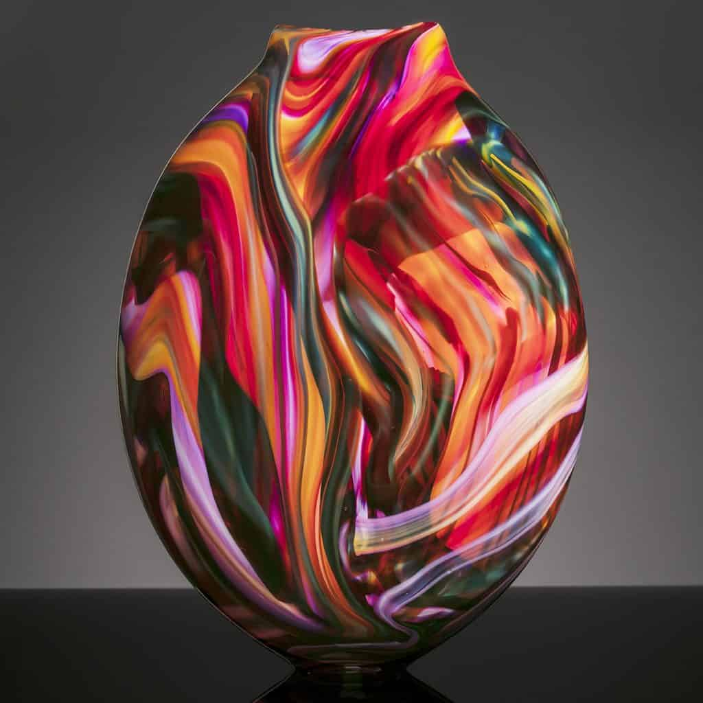 Local Art Glass Red Vase