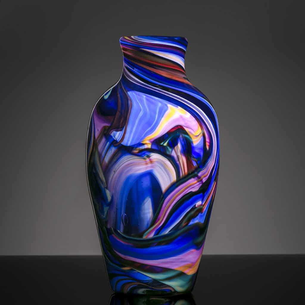 Local Art Glass Blue Vase