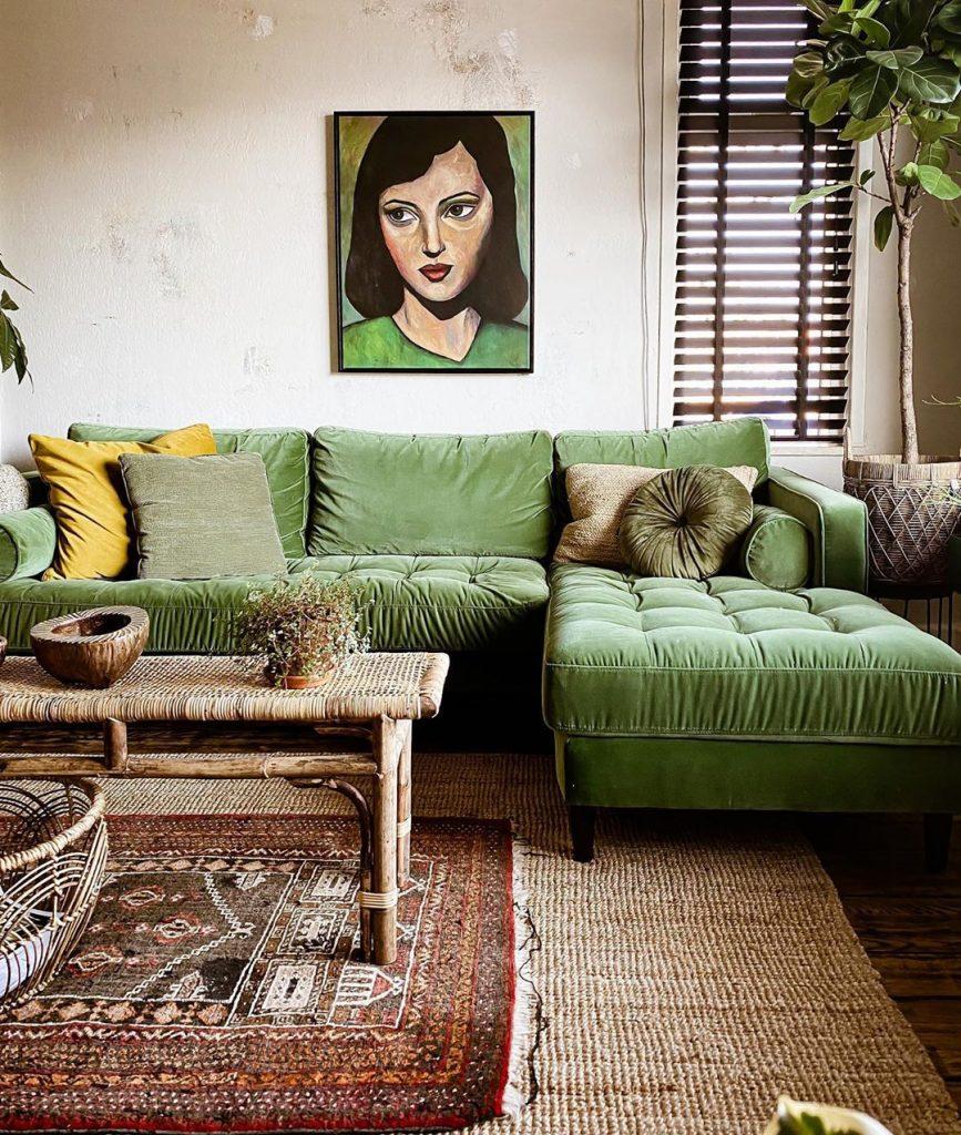 Jute rug with green velvet sofa
