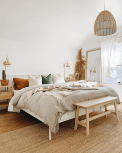 Boho Bedroom with Warm Colored Bed set