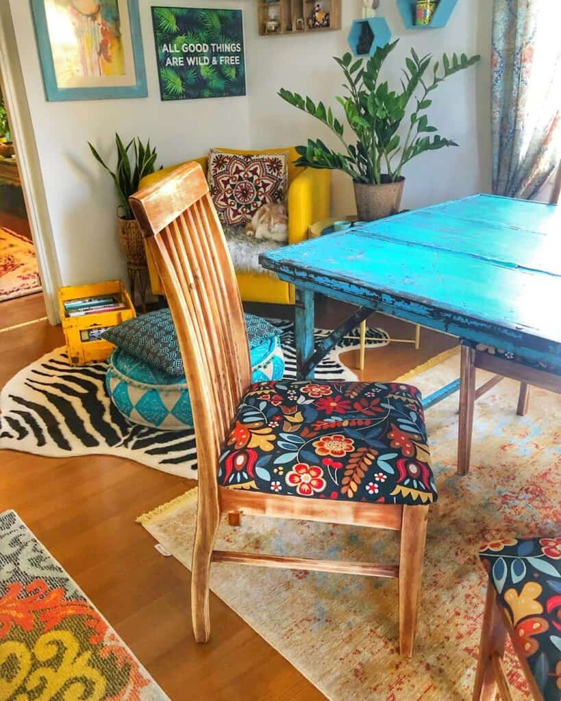 blue dining table