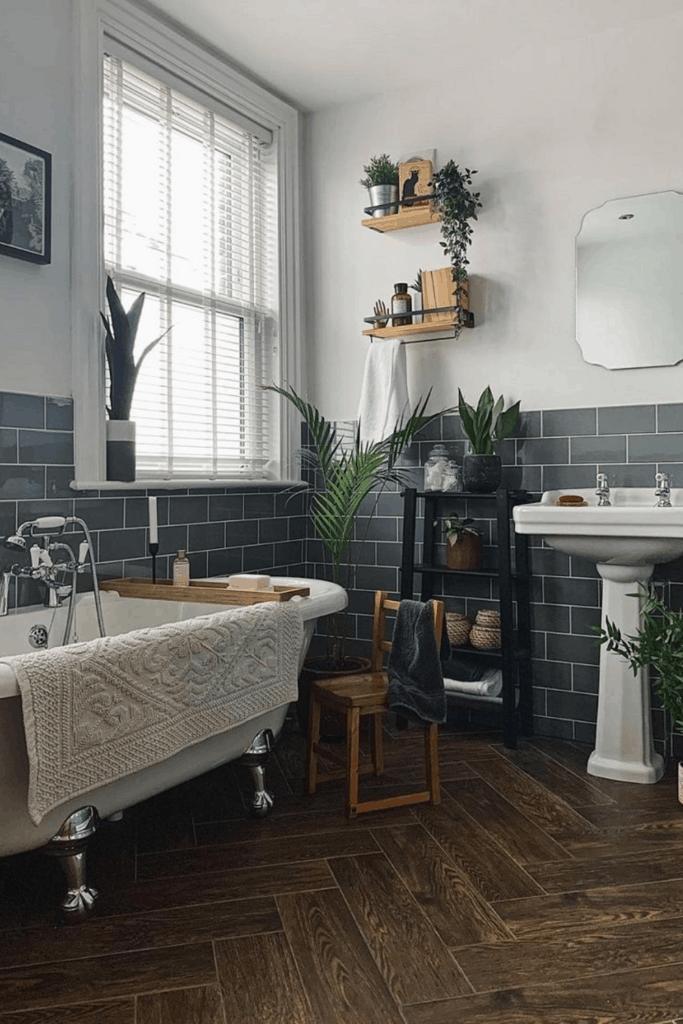 Victorian bathroom with herringbone floor