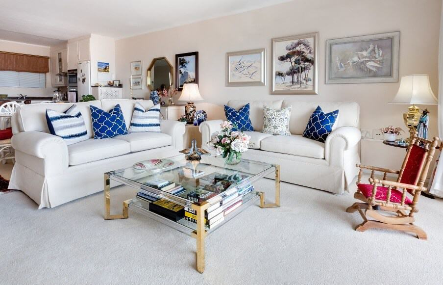 white gray and blue living room