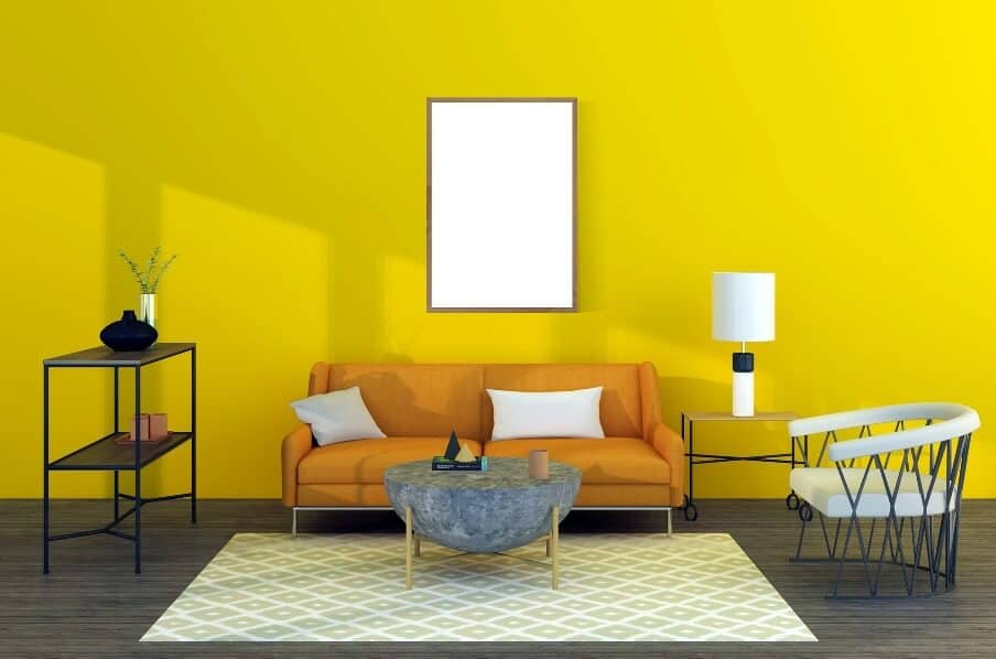 Yellow living room setting with area rug