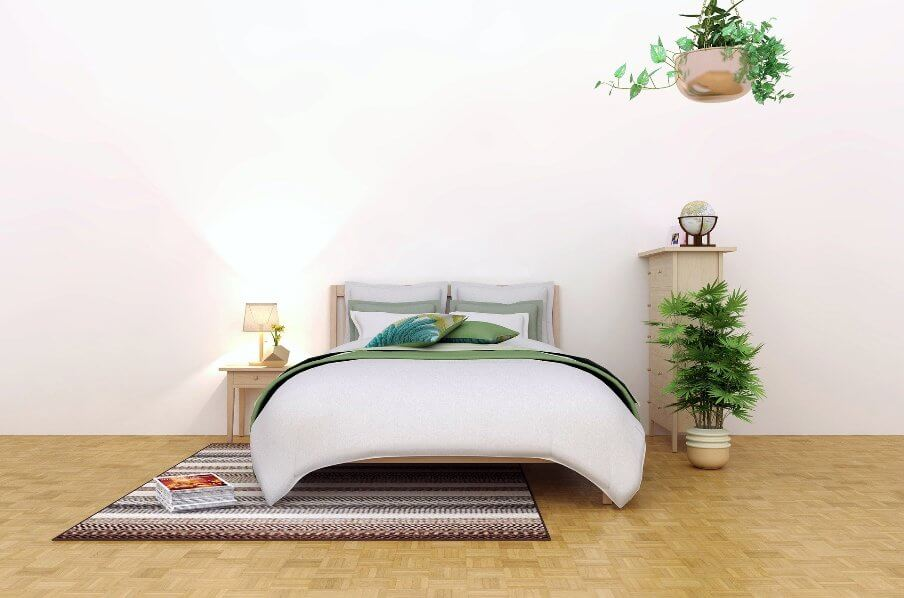 bedroom scene set against a pale colored wall background