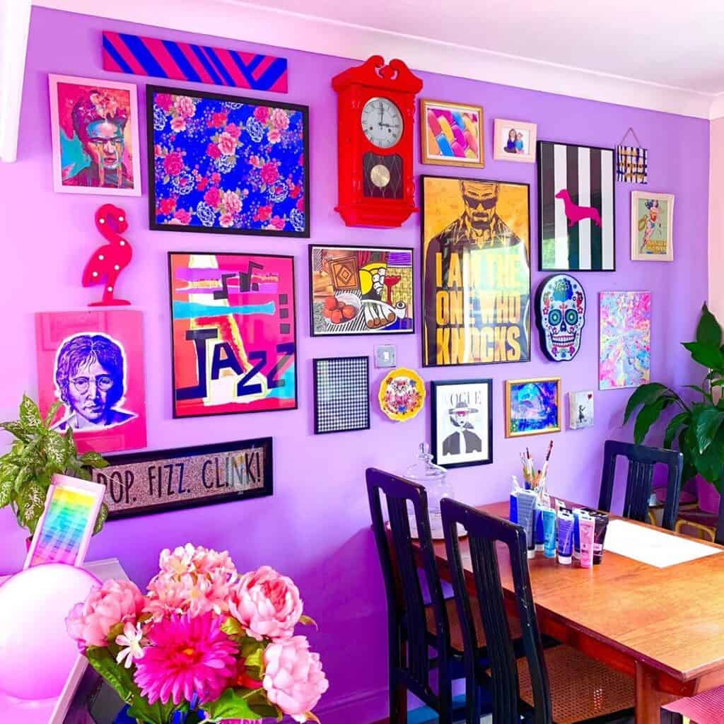 Bright wall with gallery wall