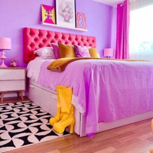 Colorful bedroom from the floor