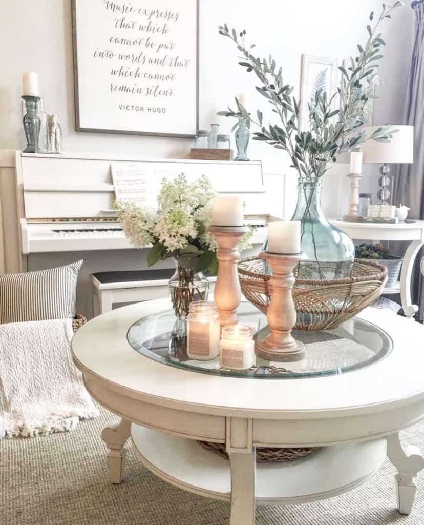Farmhouse coffee table and piano