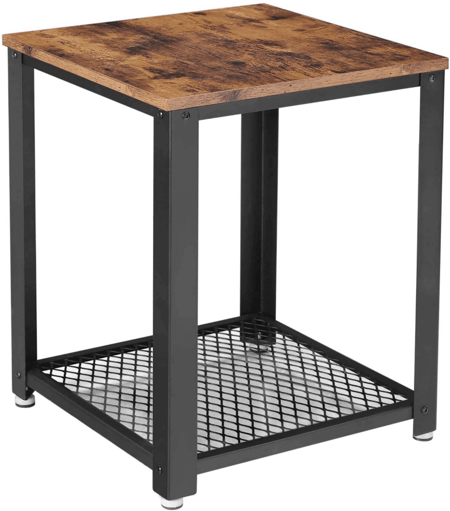 a metal and wood nightstand in an industrial style