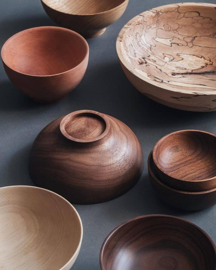 Jonathan Renton English Pear oak chestnut sycamore beech and American walnut bowls
