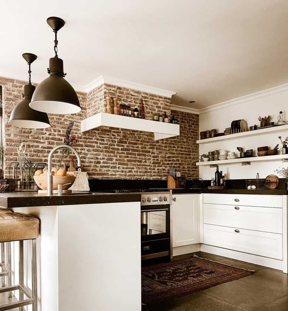 Vintage kitchen with exposed brick