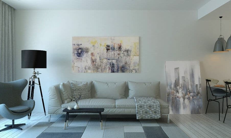 Living room setting with grey sofa