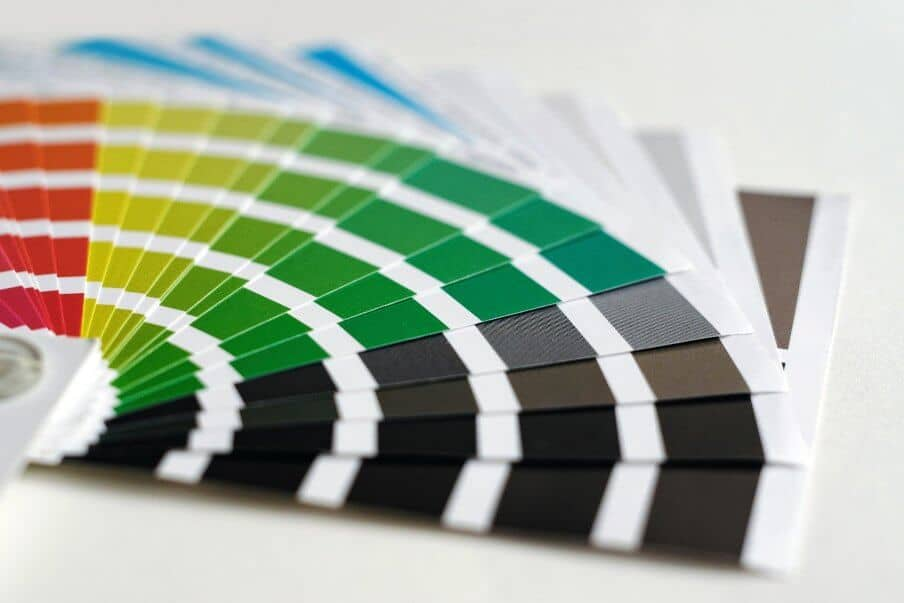 a fan of paint color cards