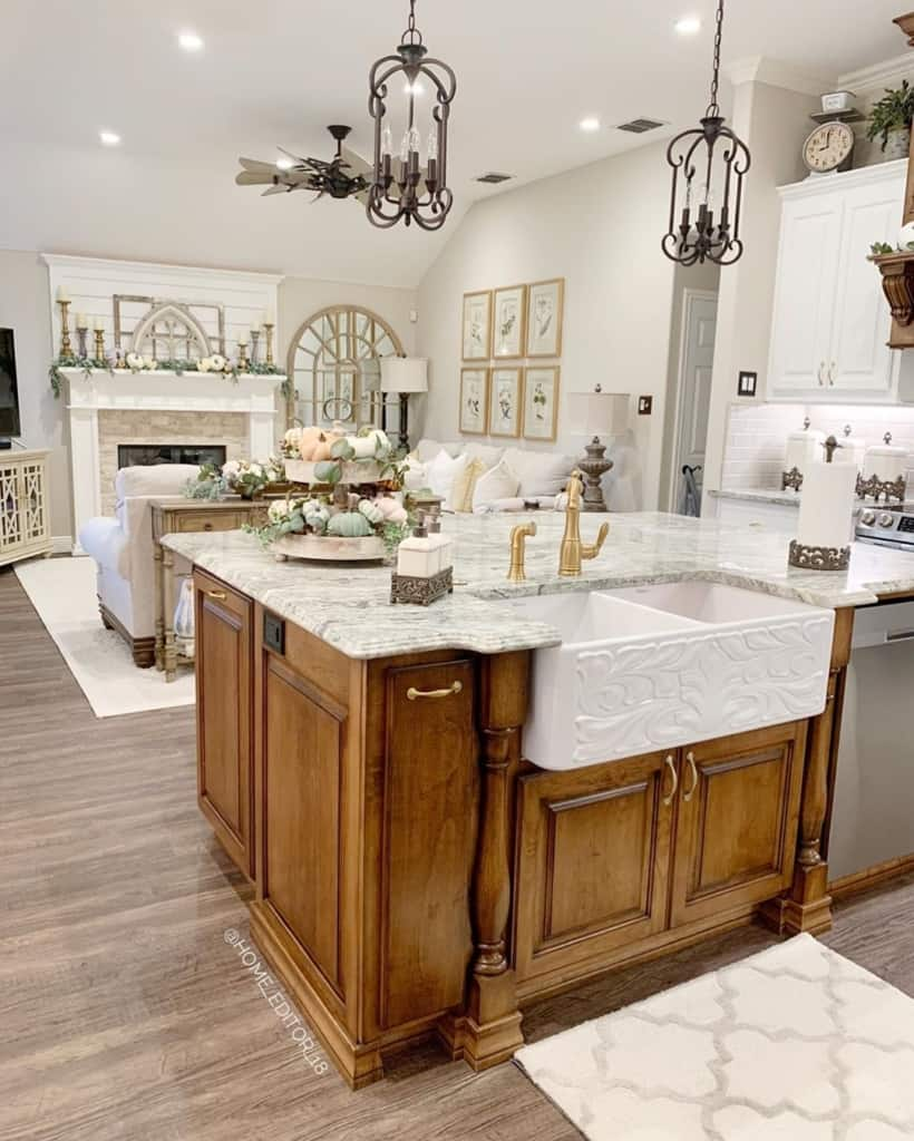 Chriselda French Country Kitchen Bar with Sink