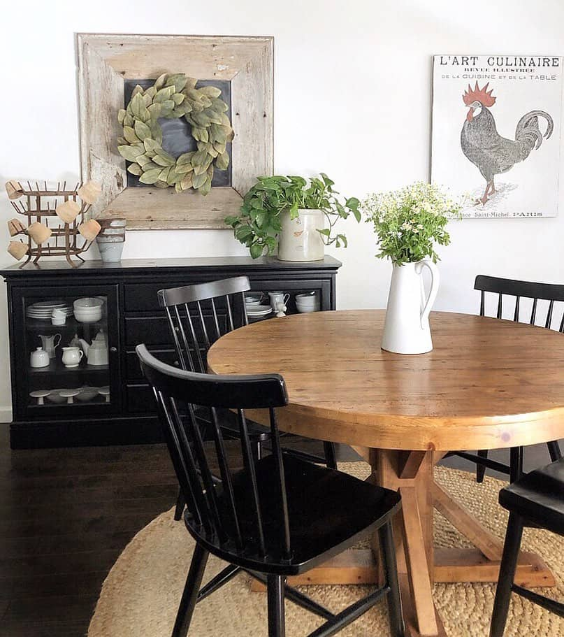 Dark chairs around a round dining room table